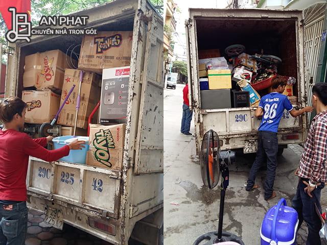 thùng đồ được xếp gọn gàng trong xe tải chở đến nhà mới